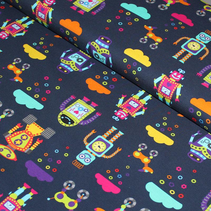 rainbow robots organic fabric