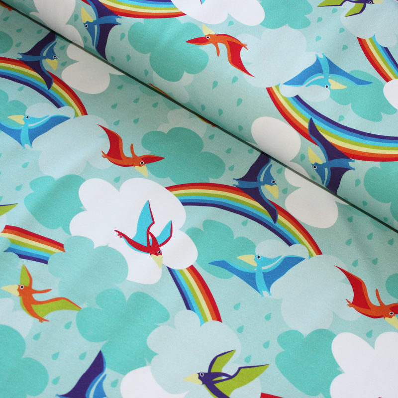 rainbow dinosaur knit fabric