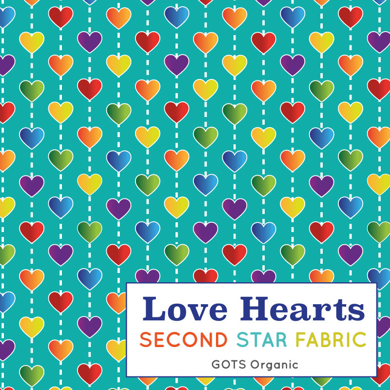 rainbow hearts organic jersey fabric
