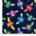 rainbow bees jersey fabric