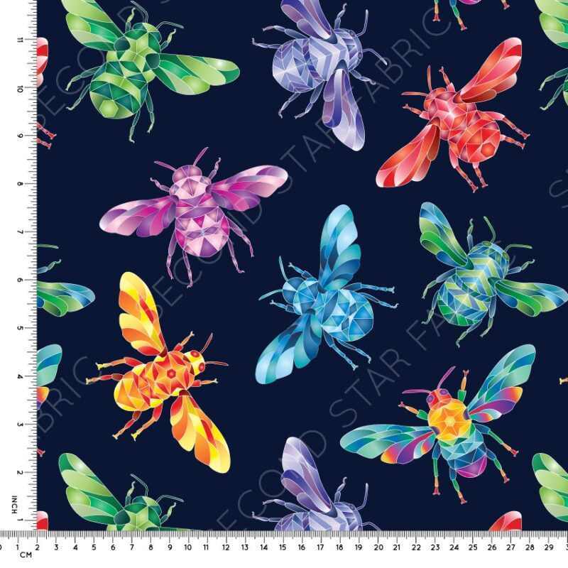 rainbow bees jersey fabric